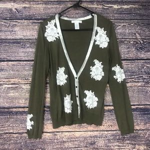 Design Theory green patch flower cardigan Large